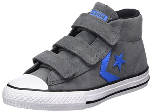 Converse Star Player EV 3V Mid Thunder/Black, Unisex-Kinder High-Top, Mehrfarbig (Thunder/Black/Italy Blue), 34 EU (Jungen Converse Schuhe)