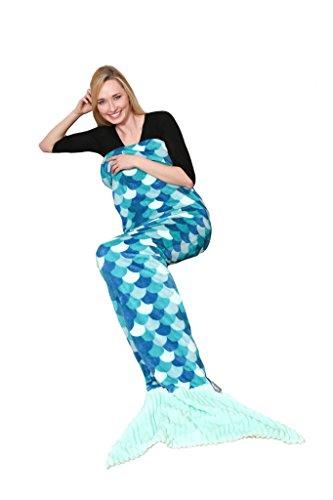 Kanguru coperta sirena, in morbido pile. soffice e calda microfibra, plaid ideale per regalo natale o per comodo relax sul divano in casa, lunga 200 cm sirena turchese