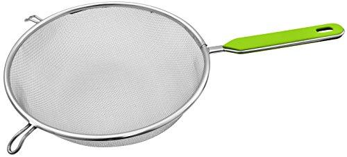 Fackelmann Sieb Ø 20 cm, Küchensieb aus Edelstahl, feinmaschiger Seiher mit Griffeinlage aus Kunststoff (Farbe: Grün/Silber), Menge: 1 Stück