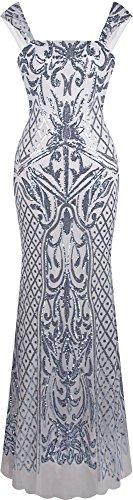 Angel-fashions Damen Armellos Silber Paillette Blumen Muster Meerjungfrau Party Kleid Small Meerjungfrau Kleid Muster