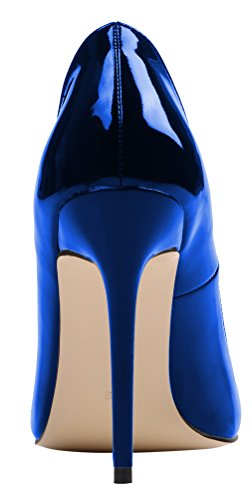 AOOAR Damen High-Heel Glattleder Büro Pumps Glitzernd Blau Lackleder