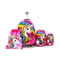Kids'School bag trolley Rolling travel bag unicorn with drawstring Bag set of 4 17inch 3-12years olds