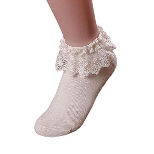 Oyedens neue Art und Weise Frauen Vintage-Spitze Rüsche Rüschen-Söckchen Prinzessin Mädchen Baumwollsocke (Weiß) - Damen Rüschen-söckchen