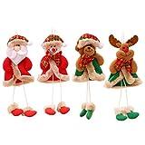 STOBOK Adornos Colgantes de árbol de Navidad Peluche Santa muñeco de Nieve Alce Oso muñeca de Pierna Larga para Colgante de árbol de Navidad,4 Piezas
