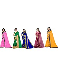 Florence art silk with blouse piece Saree (Pack of 5) (FL-Combo5_12_ Multicolour_ One Size)