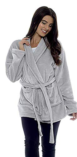 Bata Mujer Invierno Polar Extra Suave Batas de Casa Albornoz Polares M 12-14, Gris
