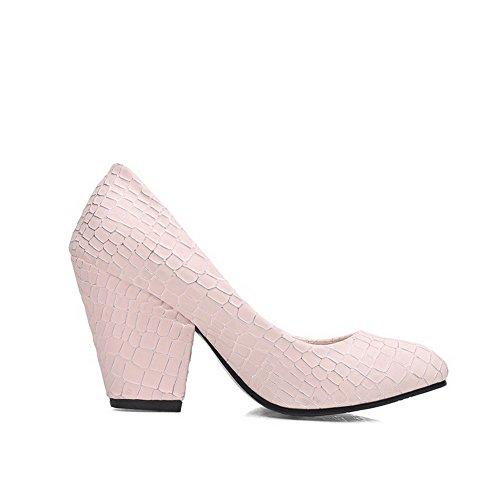 AgooLar Damen Ziehen Auf Stiletto Pu Leder Rein Rund Zehe Pumps Schuhe Pink