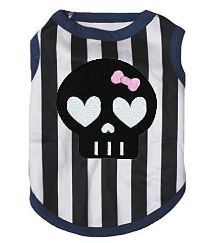 Petitebelle Chiot Vêtements pour chien Robe Cute Squelette Noir Blanc