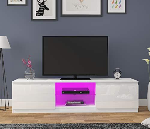 Anaelle Panana Meuble TV avec LED en Verre sur Salle de Séjour, Salon et Chambre à Coucher etc, Taile: 160 x 39 x 40 cm, Poids: 28 kg, Blanc