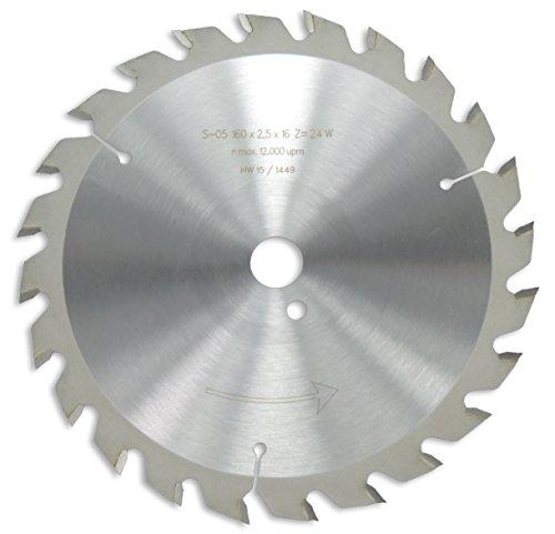 HM / HW Sägeblatt mit Nebenlöchern und Wechselzahn 160 x 16 mm mit 24 Zähnen Made in Germany (GE11a)