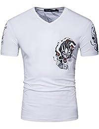 YCHENG Homme Manche Courte Plaine impression personnalisée T-shirt Casual Slim Fit col rond