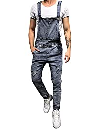 fe3be67cd02e Anglewolf Mens Relaxed Fit Denim Dungarees - Stonewash Value Overalls Loose Dark  Blue Onesie All in