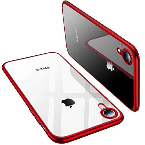 TORRAS Crystal Clear iPhone XR Hülle, Transparent dünn Slim [Anti-Gelb] Handyhülle Weiche Silikon TPU Bumper Case Scratchproof Kratzfest Durchsichtige Schutzhülle für 6,1 Zoll iPhone XR - Rot