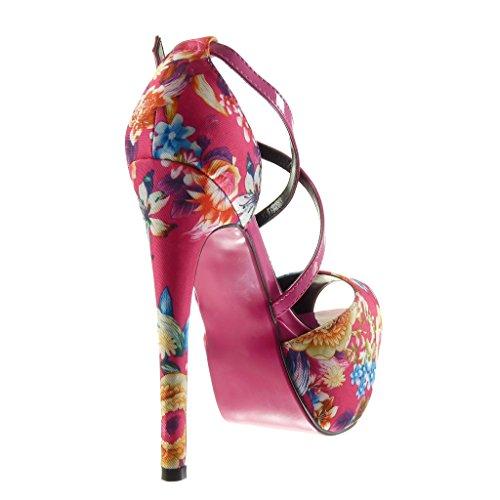 Angkorly Damen Schuhe Pumpe Sandalen - Stiletto - Plateauschuhe - Sexy - Blumen - String Tanga Stiletto High Heel 15 cm Fushia
