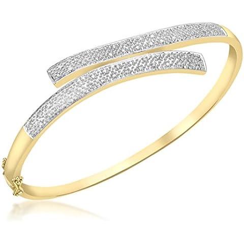 Carissima-Bracciale in oro giallo 9 kt con pavé di diamanti da 0,25 ct-Bracciale rigido