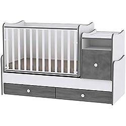 Lit bébé évolutif/combiné Trend Plus Gris Lorelli (Le lit se transforme en : lit d'adolescent, bureau, armoire multi-fonction)