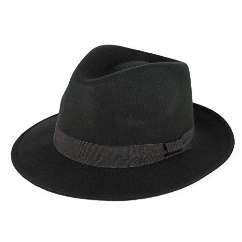 Men's Ladies Fedora Hat Plain Handmade - Fine Felt - Grosgrain Band - Black (Jackson Michael Accessoires)