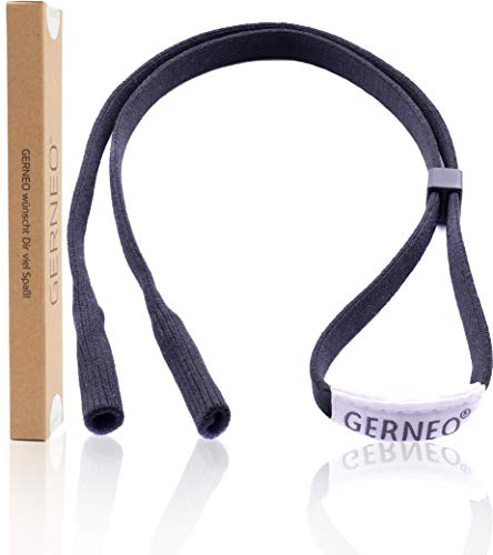GERNEO® - DAS ORIGINAL - Premium Sportbrillenband & Brillenband Sport für Sportbrille, Sonnenbrille, Lesebrille - in schwarz - wasserfest