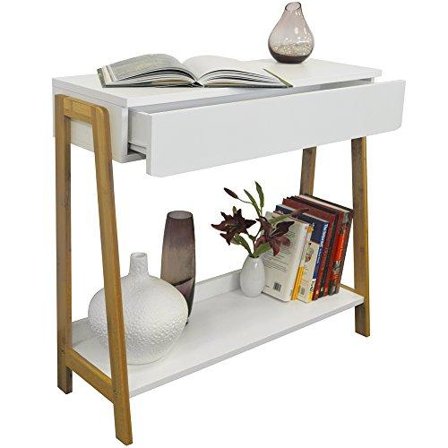 Bamboo Konsolentisch Frisiertisch mit Regal und Schublade - Weiss