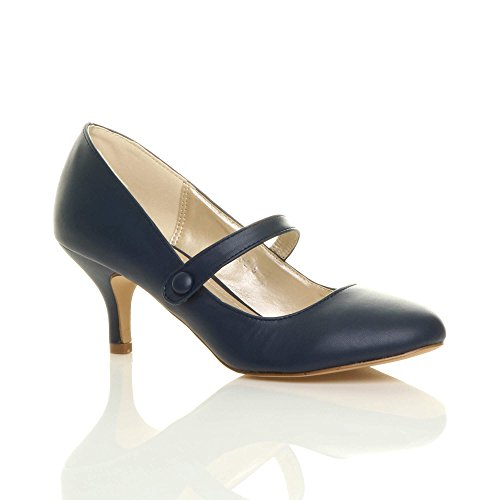 b76237bd80d Womens ladies low mid heel mary jane strap work party court shoes.
