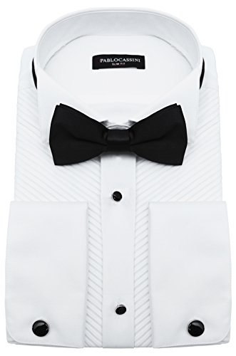 PABLO CASSINI Smokinghemd Plissee Weiss mit Manschettenknöpfe und Qualitäts Fliege (M)