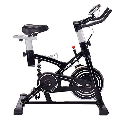 IDEER LIFE Speedbike, Indoorcycling Bike, Spinning Bike, Heimtrainer Fahrrad, Fitness Gerät für Zuhause, 15KG Schwungrad (09060-Schwarz)