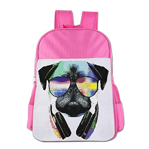 Children's School Bag DJ Pug with Sun Glasses Halloween Pink One Size