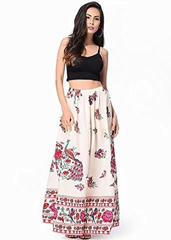 Women's Paisley Print Bohemian Hippie Skirt Beach Long Maxi Dress Beige 2XL