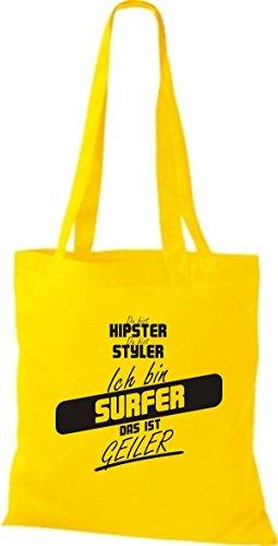 Borsa In Tessuto Shirtstown Sei Hipster Sei Stiler Sono Surfer Che È Giallo Corneo