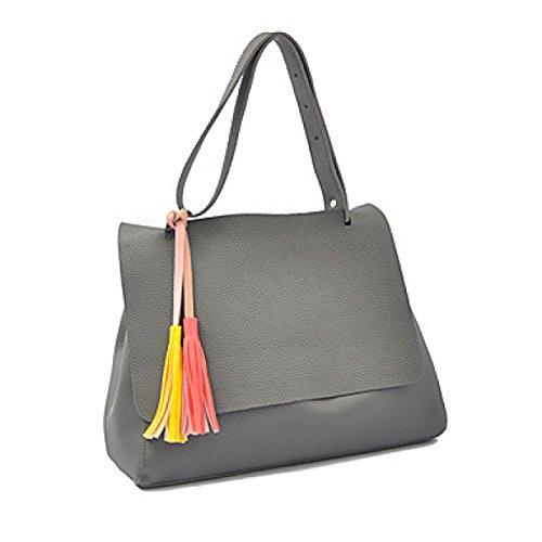 DFUCF Damen PU Büro Beruf Umhängetasche Kuriertasche Handtasche Umhängetasche Tasche Mode Lässig Robust Party Gray