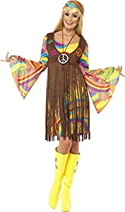 Smiffys Déguisement Femme, Hippie cool des années 60, avec robe, gilet imprimé et bandeau, Taille 32-34, 35531