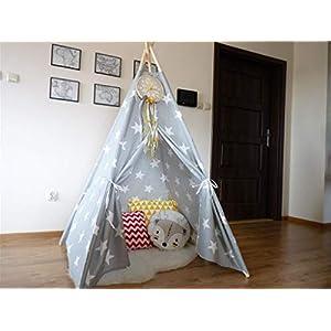 Tipi: grau mit großem Stern, natürliche Leinwand Plain Kinder Tipi, Kinder spielen Zelt, Childrens Play House, Tipi, Kids Room Decor