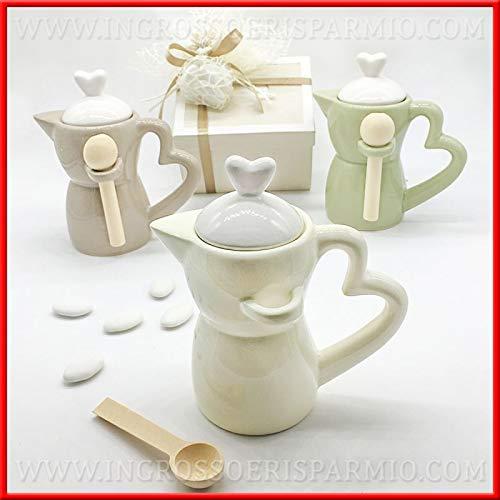 Zuccheriere a forma di caffettiera in porcellana lucida colorata con cucchiaino bomboniere matrimonio anniversario utili, completa di scatola regalo dim. standard (con confezione rossa)