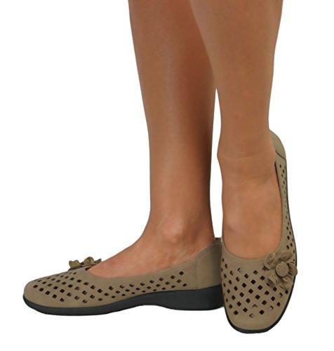 Perfetto Me da donna Ballerina Casual mettere Comfort Dolly da lavoro Ballerina classica fiocco piatto pompe scarpe Nero (Taupe Flower Faux Leather)