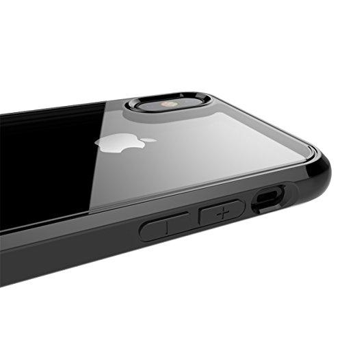 iPhone X Handycover, MOONMINI für iPhone X Air Cushion Ultra dünn Transparent Weich TPU Silikon Handy Tasche Weiche Silikon Cover Anti-Kratzer Anti-Drop Schutzhülle Backcover Case Rot Schwarz