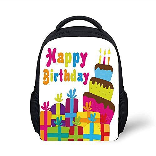 Kids School Backpack Birthday Decorations,Cute Cartoon Style Lettering Celebration Surprise Boxes Yummy Cake,Multicolor Plain Bookbag Travel Daypack Plain Cake Box