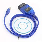HERCHR VAGCOM USB KKL Cable, For AUDI Volkswagen OBD2 OBDII Car Diagnostic Scanner UP, Blue