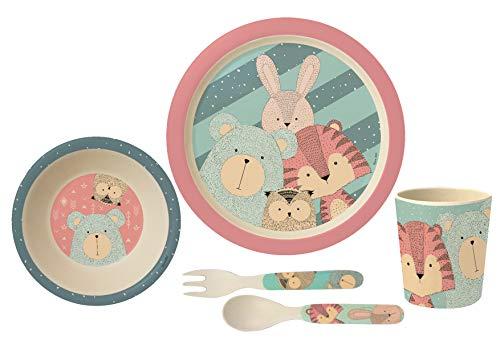 POS Handels GmbH - Set de Desayuno (5 Piezas, en Caja de Regalo, bambú, almidón de maíz, melamina, Mezcla de Materiales, sin BPA)