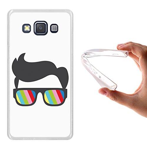 WoowCase Samsung Galaxy A5 2015 Hülle, Handyhülle Silikon für [ Samsung Galaxy A5 2015 ] Sonnenbrille und Nerd Stil Handytasche Handy Cover Case Schutzhülle Flexible TPU - Transparent