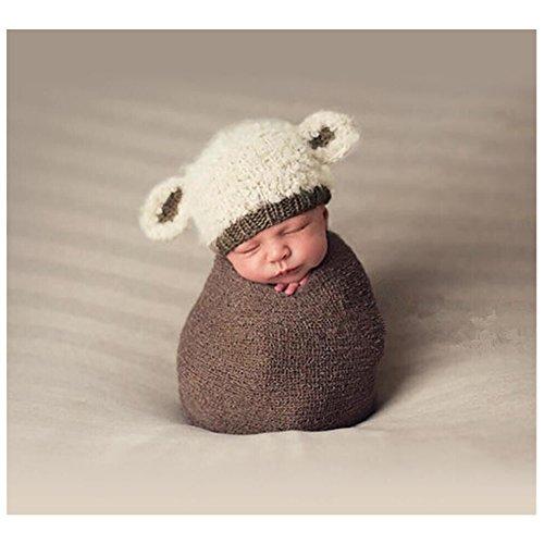 Preisvergleich Produktbild Neugeborene Junge Mädchen Handarbeit Gehäkelte Baby Kostüm Fotoshooting Lamm Hut Mütze