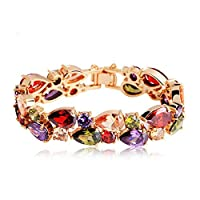 Swarovski Elements women's colorful bangle Crystal gold Plated Charm Bracelet