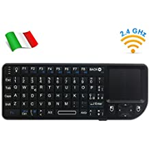 Rii Mini Elegance Wireless (layout ITALIANO) - Mini tastiera retroilluminata con mouse touchpad e laser per Smart TV, Mini PC, HTPC, Console, Computer