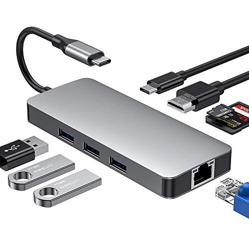 8 in 1 Typ C Hub mit 4K HDMI, USB 3.0 x 3, PD-Stromversorgungsanschluss, SD/TF-Kartenleser, 1000M LAN-Ethernet-Anschluss, Unterstützung für Apple Mac OS Windows Linux Mac OS Windows Linux usw -