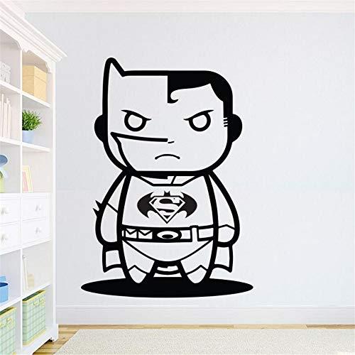 stickers muraux fille avec fleurs Batman Sticker Mural Superhero Inspiration Sticker Mural Enfants Garçons Room Decor Superman VS Batman Dessin Anim