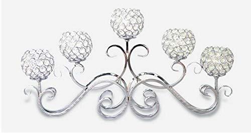 ShAwng 1 Stück Kreative Europäische Schmiedeeisen Kristall Kerzenständer/Romantische Kerzenlicht Abendessen Einrichtungsgegenstände / 5 Kopf Kerzenständer-Silber -