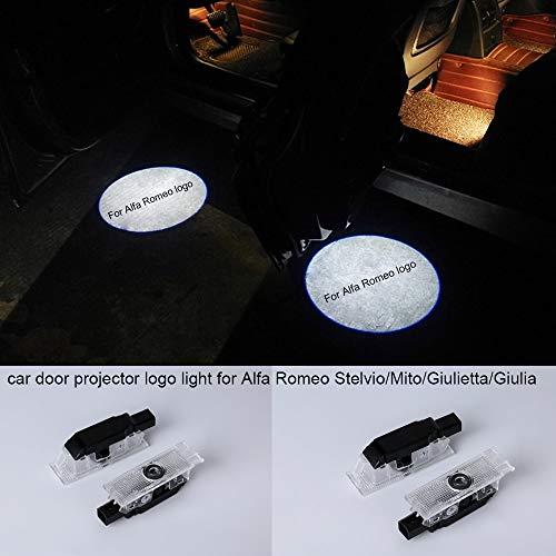 2 proiettori LED per portiera auto con logo, plug and play, facili da installare