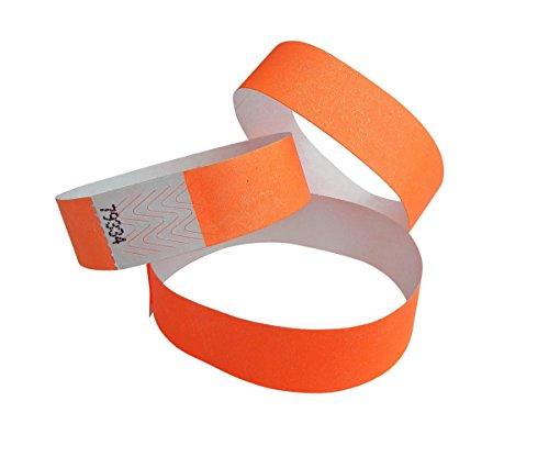 500 Braccialetti Tyvek numerato ampia misua – arancio neon