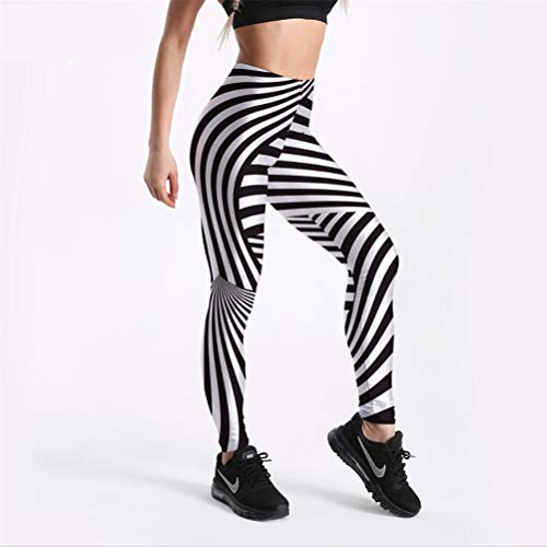 MGGR.O Fit Lässige Mode Frauen Leggings Zebra Black & White Stripes Printed Legging Mittlere Taille Knöchellänge M - Black Zebra Kreuz