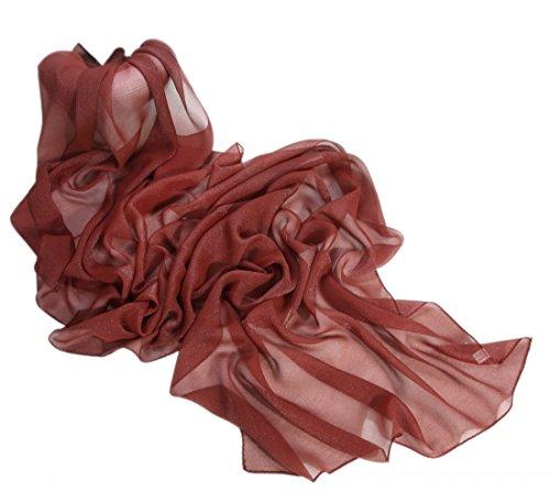 Prettystern sciarpa di seta lunga da donna stola filo di metallo argentato iridescente tinta unita cinnamon marrone