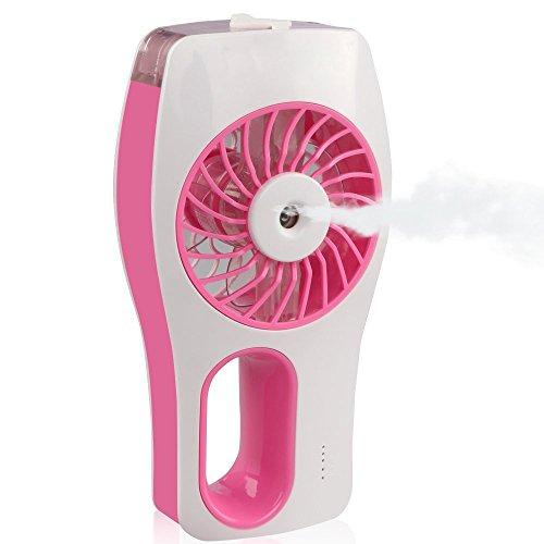 D-FantiX Tragbarer Lüfter, Nebel ventilator, Persönlicher Fan Luftbefeuchter für Schönheit, Haus, Büro und Reisen (Rosa)
